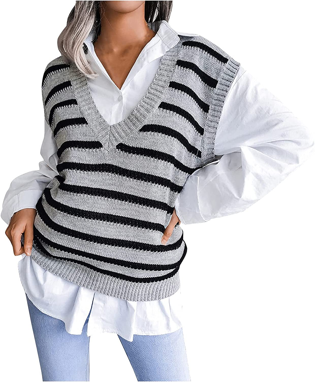 KINGAOGGO V Neck Striped Sweater Vest Women Hollow Thin Section Pullover Sweaters Fashion Knitted Vests Gray,Blue