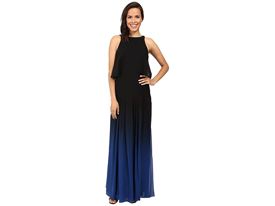 Halston Heritage Ombre Gown with Back Cut Out (Black Ultramarine) Women