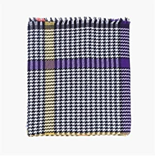 Color Strip Houndstooth Scarf Long Warm Unisex Acrylic Oversized Shawl Scarf,Perfect Accent to Any Outfit (Color : White, Size : 200 * 75cm)