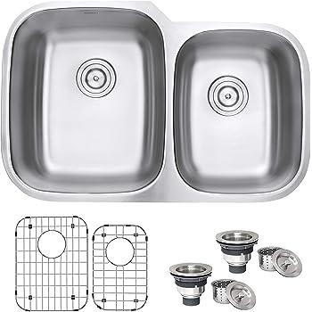Ruvati 32-inch Undermount 60/40 Double Bowl 16 Gauge Stainless Steel Kitchen Sink - RVM4310