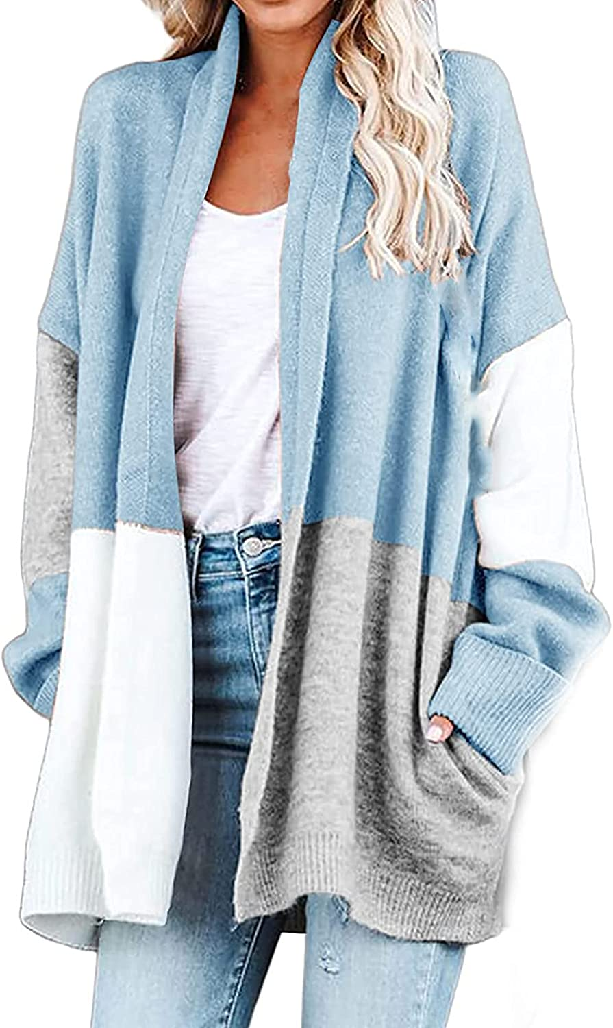 Colorblock Long Knit Cardigan for Women, Womens Casual Open Front Loose Long Sleeve Lightweight Outwear Blouse Top
