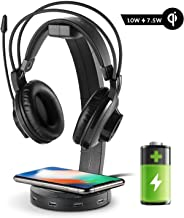EasyAcc Wireless Charging with Headphone Stand with 18W Output USB 3.0 Charging Port 4 USB HUB Compatible with iPhone XR/Xs Max/XS/X/8/8 Plus, 10W Fast Charging Galaxy S10/S10 Plus/S10E/S9 and More