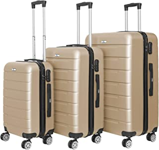 YINTON 3 Pcs Set of Luggage, Durable ABS Fully Covered Suitcase 362 Degree Silence Wheels Push-Button Handle Easy to Lock ...