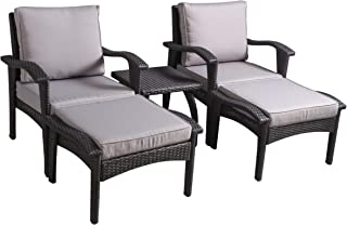 Christopher Knight Home 296730 Maui Outdoor 5-Piece Grey Wicker Seating Set with Cushions