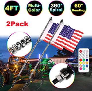 4FT LED Whip Lights, Moso LED 2 Pcs LED Whip Lights RF Remote Controlled LED RGB Lights 360° Spiral Light Whip Antenna light With Dancing/Chasing for Off- Road ATV UTV Polaris RZR Jeep Trucks 4 Wheele