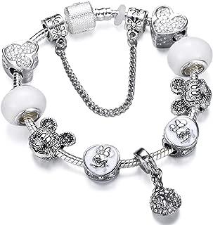 Silver Charms Bracelet Bangle for Women Crystal Flower Beads Bracelets Jewelry,Ad0721,20Cm
