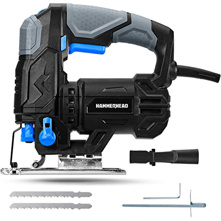 Hammerhead 4.8-Amp 3/4 Inch Jig Saw with 2pcs Wood Cutting Blades, Variable Speed and Orbital Function - HAJS048