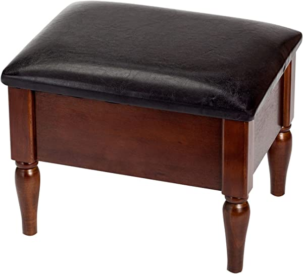 Miles Kimball Faux Leather Wooden Foot Rest With Interior Storage Area By OakRidge 15 75 L X 11 75 W X 12 25 H Stylish Chocolate Brown Top Cushion With Rich Dark Wood Finish On Legs And Panels