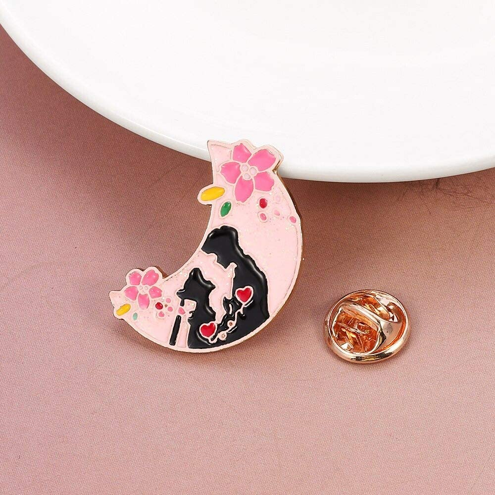 DNH - Sailor Moon brooch pin cherry blossoms couple enamel pins badges for women men lover