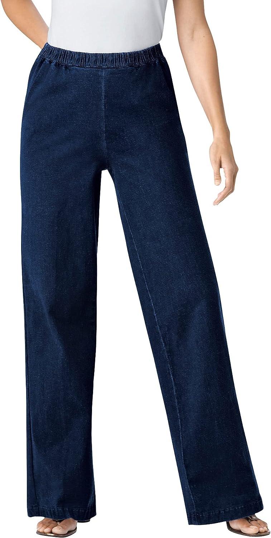 Woman Within Women's Plus Size Wide Leg Fineline Jean