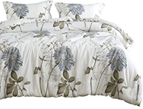 Floral Quilt Cover Set - by Wake In Cloud, 100% Cotton Doona Cover Bedding Set, Botanical Flowers and Tree Leaves Pattern ...
