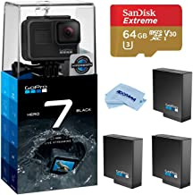 GoPro HERO7 Black - Waterproof Digital Action Camera with Touch Screen 4K HD Video 12MP Photos Live Streaming, Bundle with 2 Extra GoPro Batteries, 64GB microSD Card, Cleaning Cloth