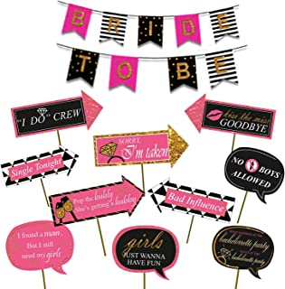 Party Propz ™ Bachelorette Party Photo Booth Props / Bachelorette Party Supplies / Miss to Mrs Banner Photo Booth / Bachel...