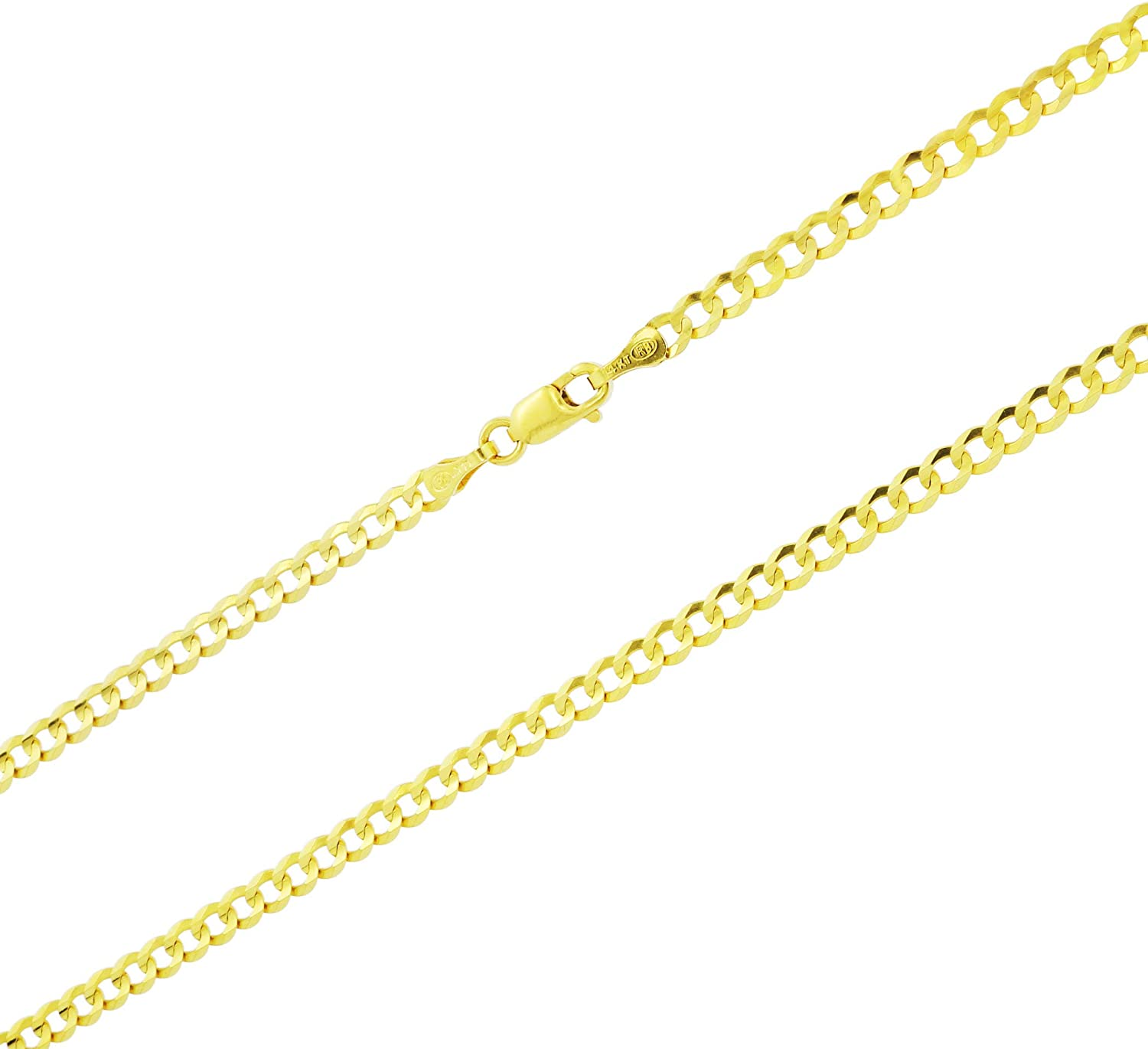 Nuragold 14k Yellow Gold Online limited product 3mm Department store Solid Link Chain Cuban Pendant Curb