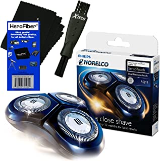 Philips Norelco RQ11 Replacement Head for 6000 Series/SensoTouch 2D 1150X, 1160X, 1170X & 1180X Electric Shavers + Double Ended Shaver Brush + HeroFiber Ultra Gentle Cleaning Cloth