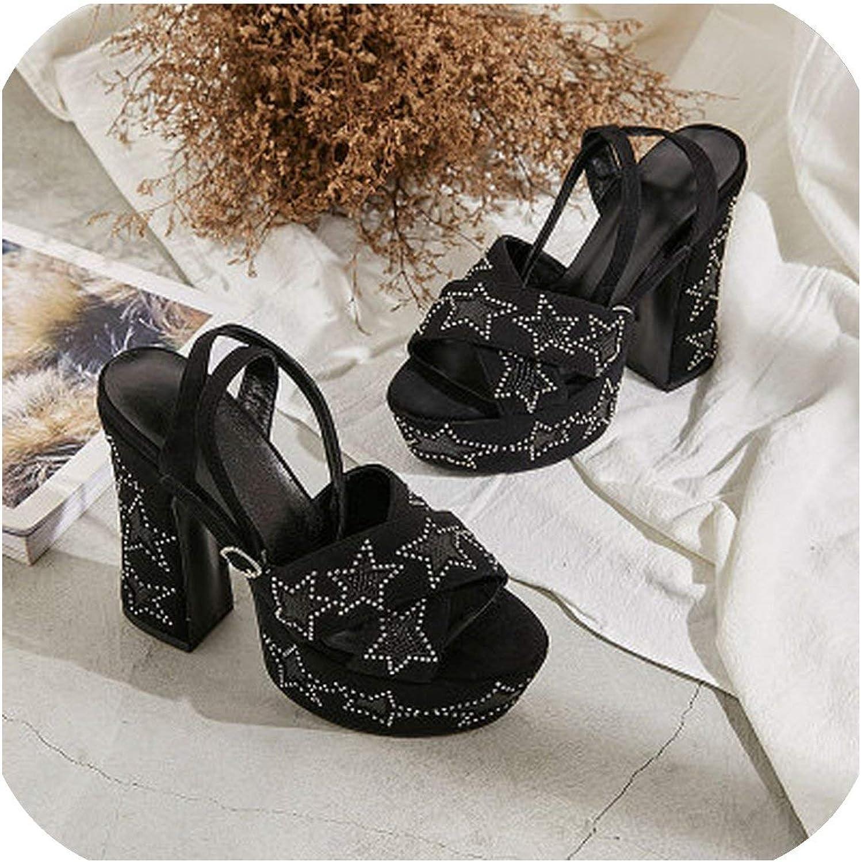 12cm Chunky Heel Gladiator Sandals Women Ankle Strap Cross Belt Suede Rivet Five Pointed Star Platform Sandalias
