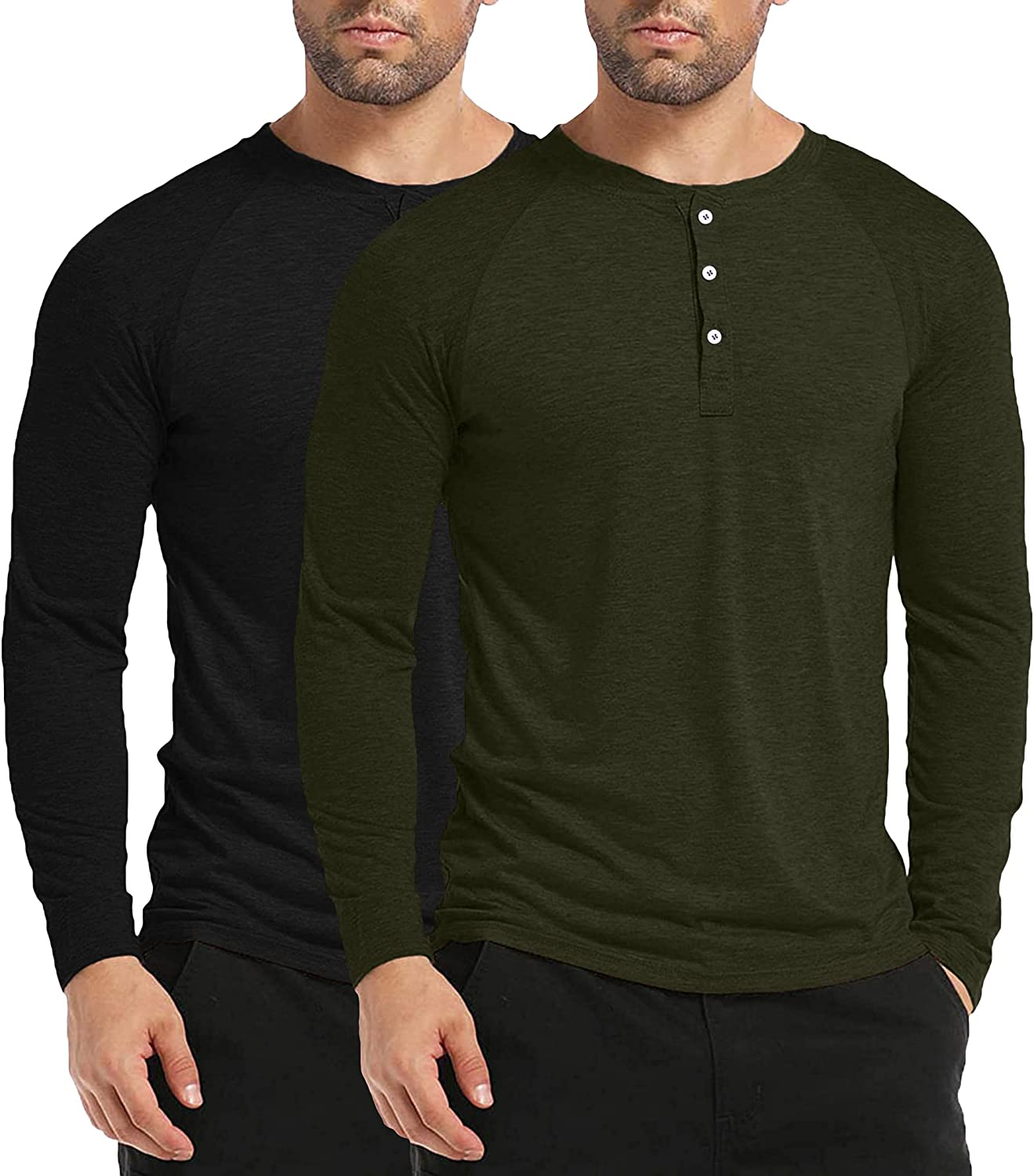 CONFANDY Men's Long Sleeve V Neck Button Tee Shirt 2 Pack Slim Fit Casual Henley Shirts