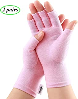 2 Pairs Compression Arthritis Gloves, Fingerless Gloves for Women Rheumatoid & Osteoarthritis - Joint Pain and Carpel Tunnel Relief Hand Gloves for Men (Pink, Large-2 Pairs)