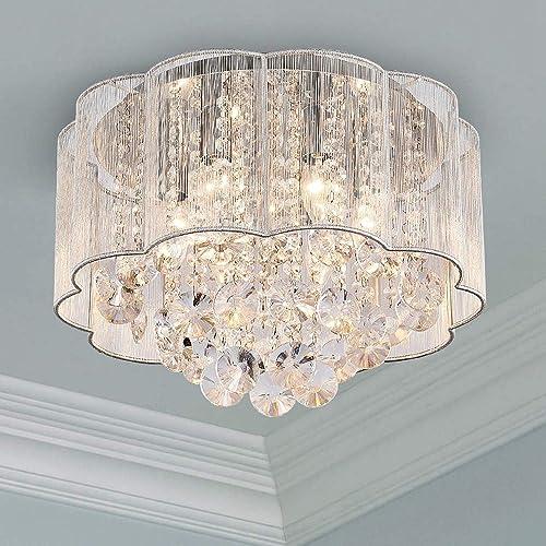 Bestier Cristal moderno Raindrop Araña Iluminación Montaje empotrado Lámpara de techo de techo Lámpara colgante para ...