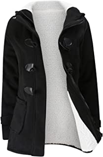 Winter Thick Long Sleeve Fleece Lined Button Zipper Pocket Hooded Cotton Coat Jacket Overcoat Top