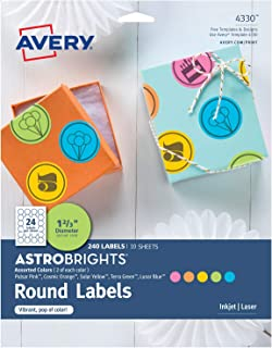 Avery Astrobrights Round Labels for Laser & Inkjet Printers, Assorted Colors, 1-2/3
