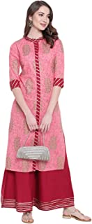 Khushal K Women's Cotton Printed Kurta With Palazzo Set