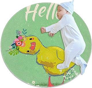 Soft Round Area Rug 70x70cm/27.6x27.6IN Anti-Slip Floor Circle Mats Absorbent Memory Sponge Standing Mat,Hello Duckling