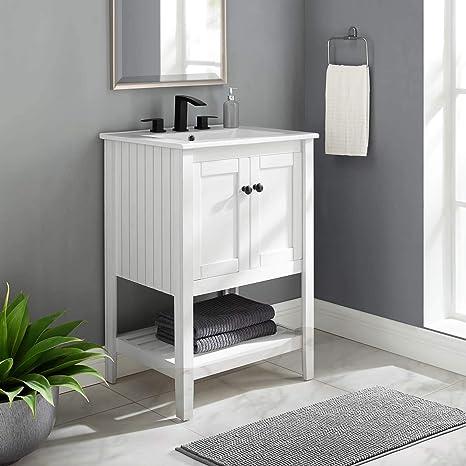 Amazon Com Modway Prestige 24 Bathroom Vanity In White 24 Inch Tools Home Improvement