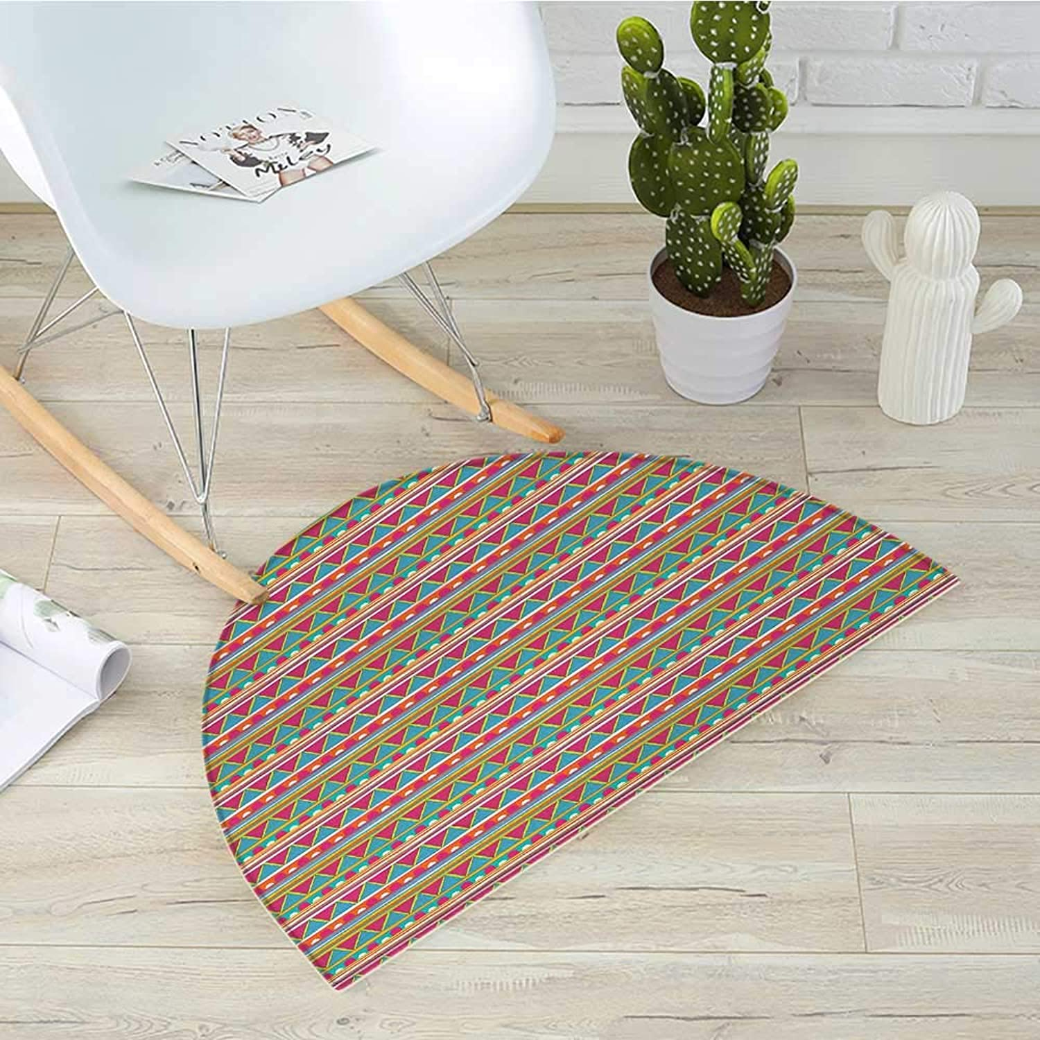 Abstract Half Round Door mats Tribal colorful Vintage Doodle Shapes with Ethnic Stripes Triangles Arrangement Bathroom Mat H 39.3  xD 59  Multicolor