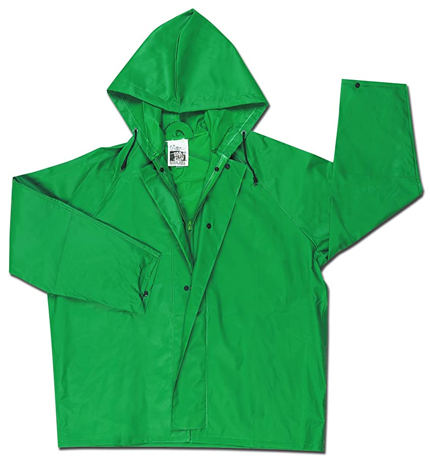 MCR Safety 388JHL Dominator PVC/Polyester Jacket with Attached Drawstring Hood, Green, Large