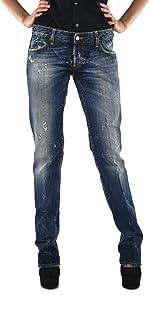 DSQUARED2 Slim Jean Mujer Azul Logo 5 Bolsillos Pin Esmaltado Algodón Botones