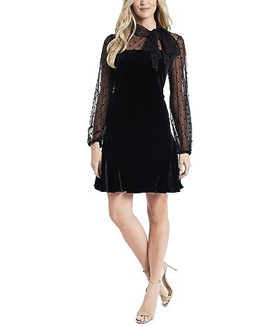 CeCe Long Sleeve Mix Media Velvet Dress (Rich Black) Women