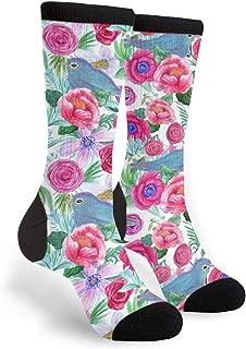 Unisex Fun Novelty Crazy Crew Socks Peony Blue Jays Dress Socks