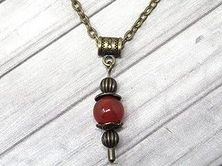 Collana con ciondolo stile vintage da donna in corniola rossa montata su una catena di bronzo antico