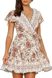 BerryGo Women's Boho Short Sleeve Floral Beach Dress V Neck Ruffle Split Party Dress
