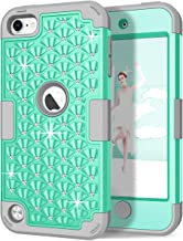 iPod Touch 6th/5th Generation Case, iPod Touch 6/5 Case, Hocase Bling Sparkle Glitter Shockproof Silicone Heavy Duty Protective Hard Case iPod Model A1574/A1509/A1421 - Teal/Gray