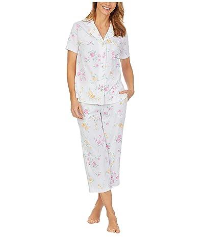 Carole Hochman Soft Jersey Short Sleeve Capris Pajama Set (White Multi Floral) Women