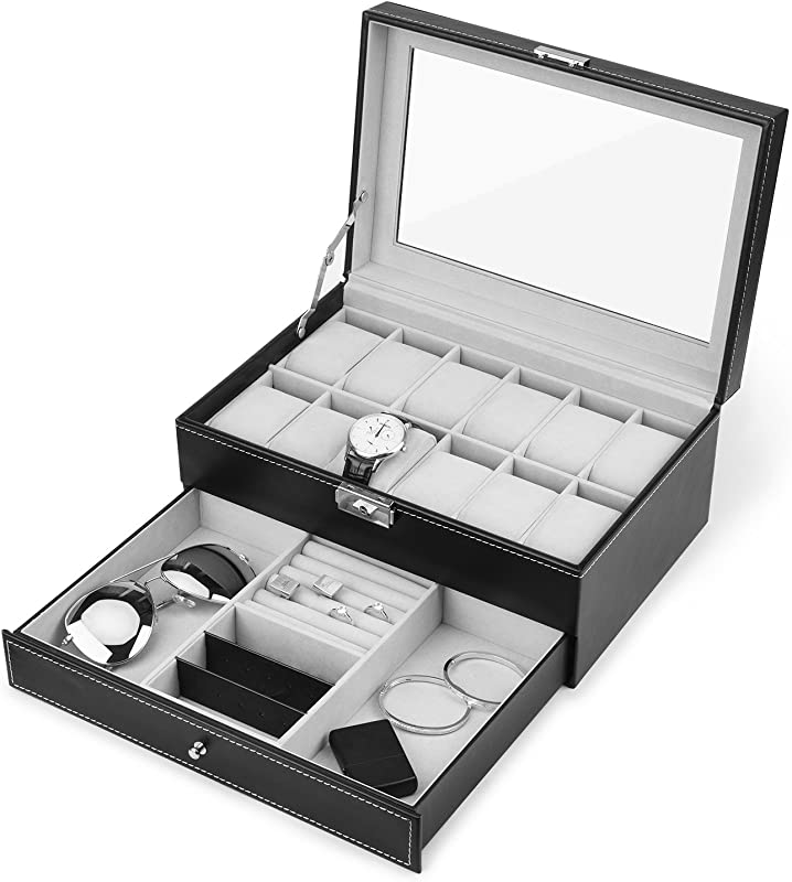 Juns Watch Box 12 Slots PU Leather Case Organizer With Jewelry Drawer For Storage And Display