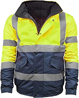 Kentex Online Mens High Visibility Jacket Hi Vis Bomber Jacket Padded Winter Warm Jackets Concealed Hood S to 6XL
