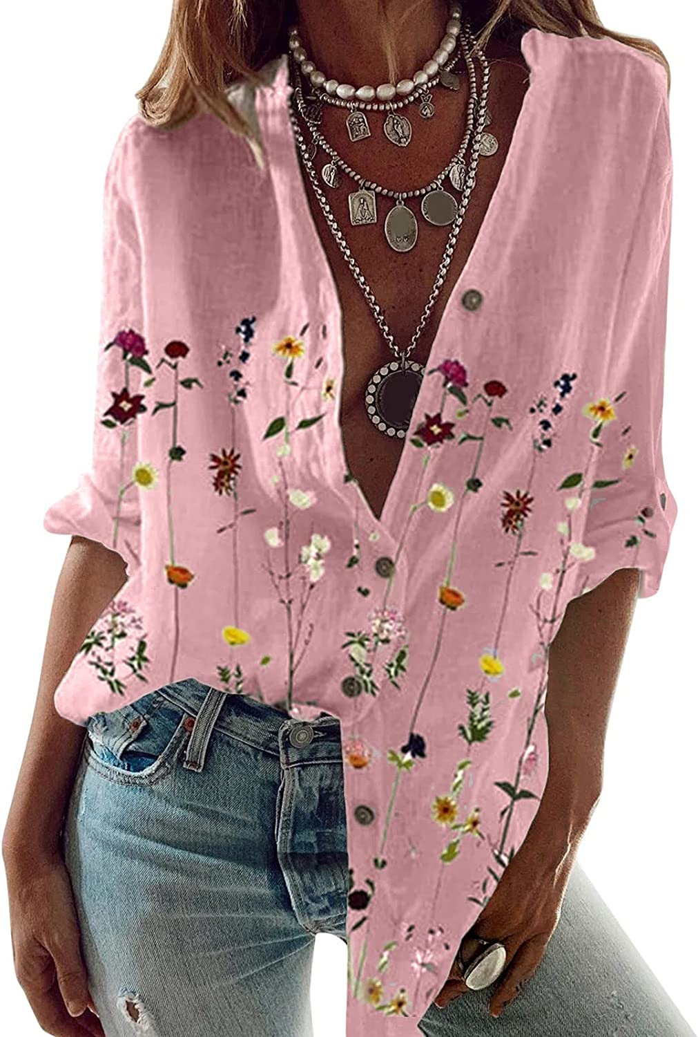 VEKDONE Women Button Down Shirts Sexy V Neck Floral Roll up Sleeve Blouses Casual Fashion Work Long Sleeve Shirts Tops