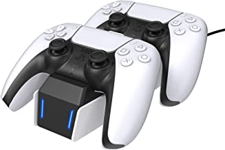 TalkWorks PS5 Controller Charger Station for PlayStation 5 - Fast Charging Dock Stand with Dual Detachable USB C Adapters
