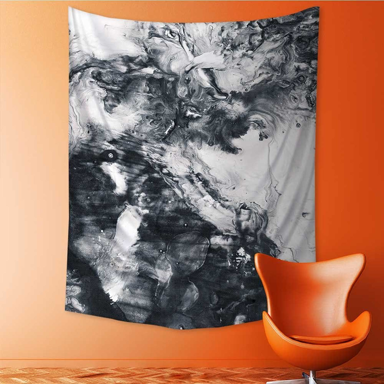 Polyester Tapestry Multi Purpose Abstract Hand Painted Black White Background Acrylic Painting on Canvas Wall Hanging Bedroom Living Room Dorm 70W x 93L Inch