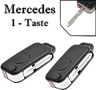 2x Ersatz Klappschlüssel Auto Schlüssel Gehäuse für 1 Taste Funk Fernbedienung mit Rohling   MERCEDES_KS01NO Neu