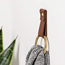 Small Leather Wall Hook, wall hanging strap towel hook for wall leather loop strap for scarf storage boat paddle holder minimal towel bar rack storage