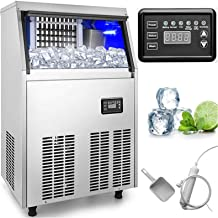 VEVOR 110V Commercial Ice Maker 110-120LBS/24H with 33LBS Bin, Full Heavy Duty Stainless Steel Construction, Automatic Operation, Clear Cube for Home Bar, Include Water Filter, Scoop, Connection Hose