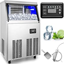 VEVOR 110V Commercial Ice Maker 150LBS in 24 Hrs with 33lbs Storage Capacity Stainless Steel 45 Cubes Per Plate Auto Clean for Bar Home Supermarkets