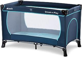 Testsieger Hauck Dream'n Play Plus, Reisebett 3-teilig 120 x 60 cm, ab Geburt bis 15 kg, inkl. Tragetasche und Schlupf faltbar, tragbar, leicht & kippsicher, blau