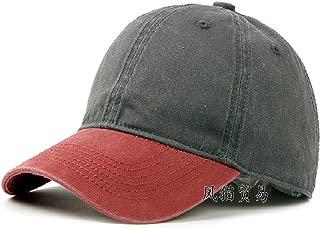 Warm Newly Black Baseball Cap Men Cotton Cap Korean Tide Bend Sun Visor Solid Color Outdoor Cap Women,Adjustable,Darkgrey+RedHat