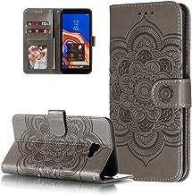 جراب HMTECHUS لهاتف J4 Prime منقوش بفتحات بطاقات متينة وبتصميم كتاب من الجلد الصناعي ومزود بحامل مغناطيسي ومضاد للصدمات لهاتف Samsung Galaxy J4+ / J4 Plus