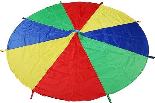 LEADSTAR Jeu Parachute Multicolore Tente de Jeu avec 8 Poignées pour Enfants Extérieur Activités de Groupe (2 Mètre)